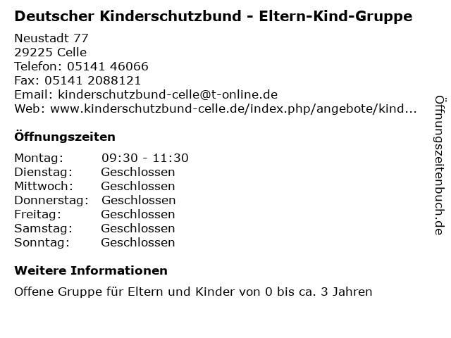 Deutscher Kinderschutzbund - Eltern-Kind-Gruppe in Celle: Adresse und Öffnungszeiten