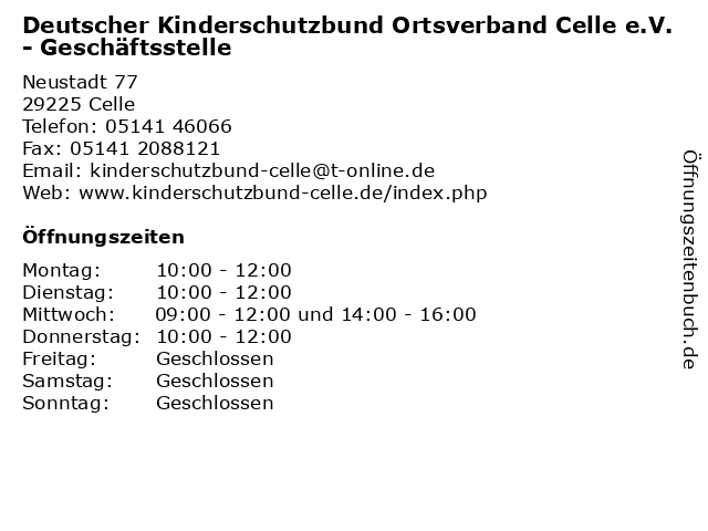 Deutscher Kinderschutzbund Ortsverband Celle e.V. - Geschäftsstelle in Celle: Adresse und Öffnungszeiten