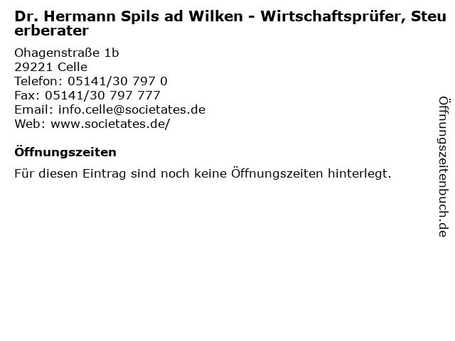 Dr. Hermann Spils ad Wilken - Wirtschaftsprüfer, Steuerberater in Celle: Adresse und Öffnungszeiten