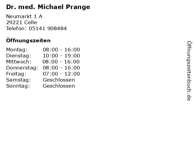Dr. med. Michael Prange in Celle: Adresse und Öffnungszeiten
