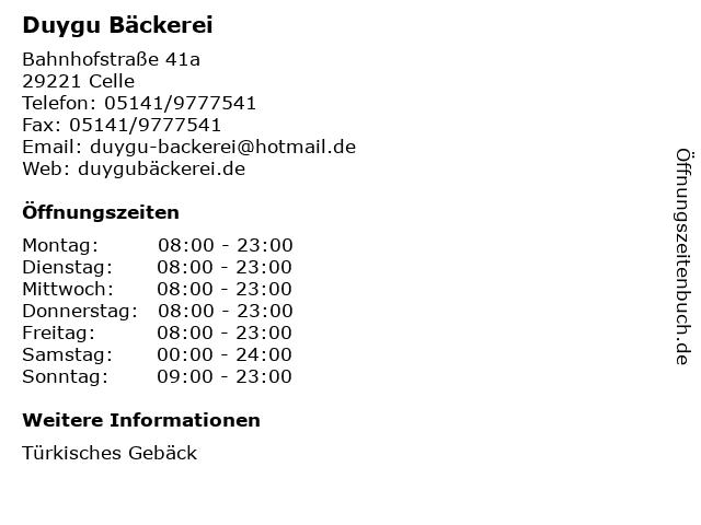 Duygu Bäckerei in Celle: Adresse und Öffnungszeiten