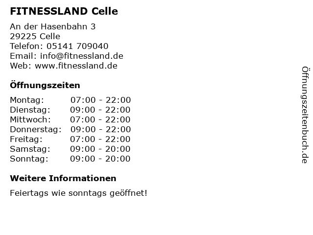 FITNESSLAND Celle in Celle: Adresse und Öffnungszeiten