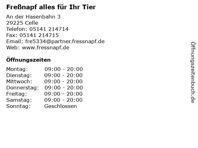 Freßnapf alles für Ihr Tier in Celle: Adresse und Öffnungszeiten