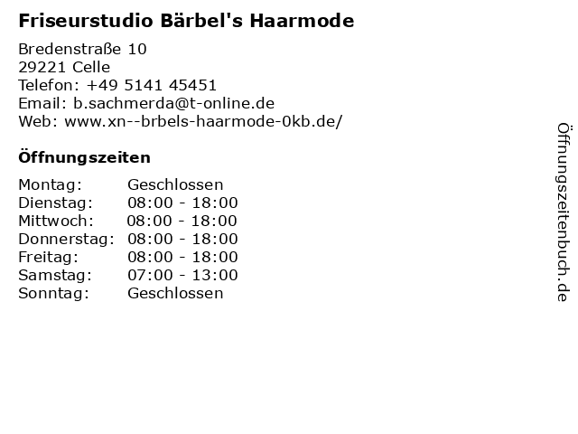 Friseurstudio Bärbel's Haarmode in Celle: Adresse und Öffnungszeiten