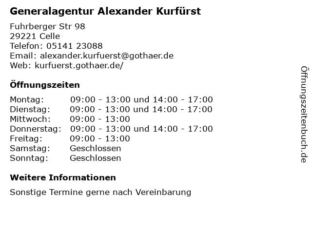 Generalagentur Alexander Kurfürst in Celle: Adresse und Öffnungszeiten