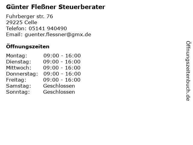 Günter Fleßner Steuerberater in Celle: Adresse und Öffnungszeiten