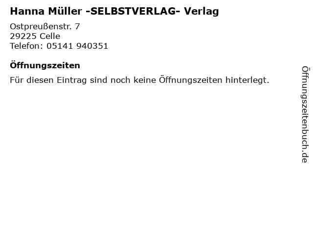 Hanna Müller -SELBSTVERLAG- Verlag in Celle: Adresse und Öffnungszeiten