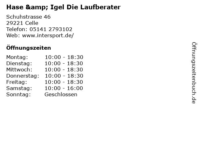 Hase & Igel Die Laufberater in Celle: Adresse und Öffnungszeiten