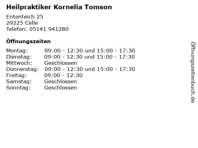 Heilpraktiker Kornelia Tomson in Celle: Adresse und Öffnungszeiten