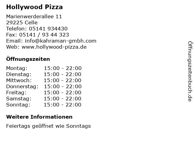 Hollywood Pizza in Celle: Adresse und Öffnungszeiten