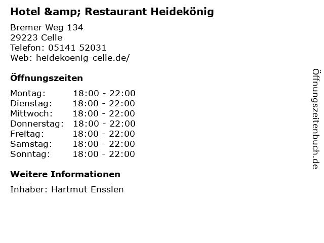Hotel & Restaurant Heidekönig in Celle: Adresse und Öffnungszeiten