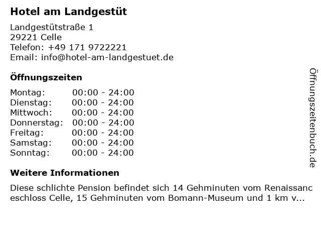 Hotel am Landgestüt in Celle: Adresse und Öffnungszeiten