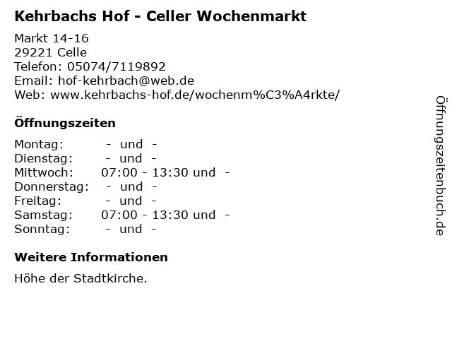 Kehrbachs Hof - Celler Wochenmarkt in Celle: Adresse und Öffnungszeiten