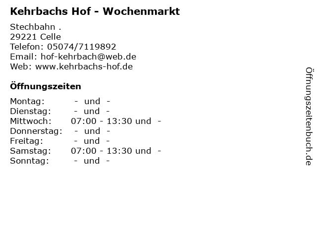 Kehrbachs Hof - Wochenmarkt in Celle: Adresse und Öffnungszeiten
