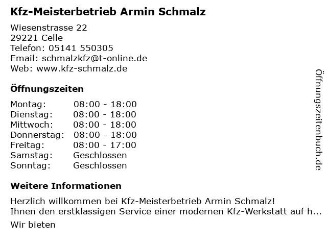 Kfz-Meisterbetrieb Armin Schmalz in Celle: Adresse und Öffnungszeiten