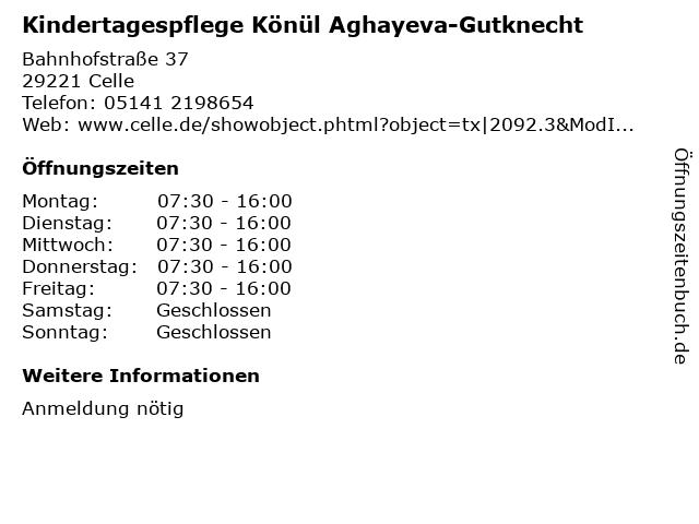 Kindertagespflege Könül Aghayeva-Gutknecht in Celle: Adresse und Öffnungszeiten