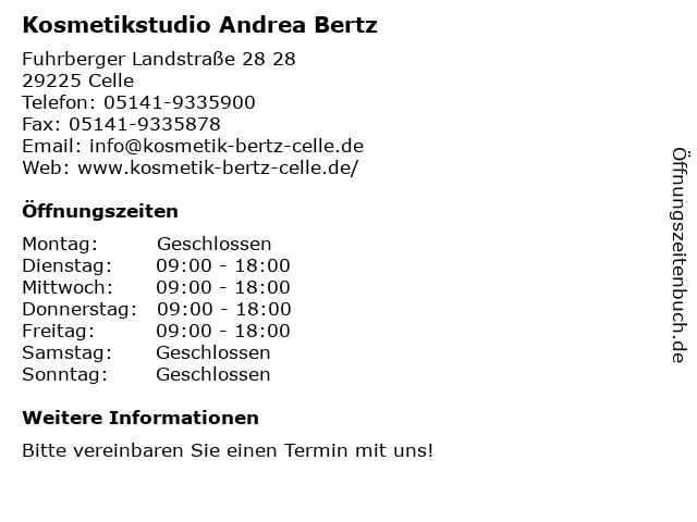 Kosmetikstudio Andrea Bertz in Celle: Adresse und Öffnungszeiten