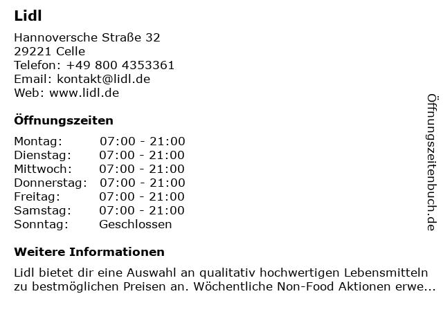 Lidl in Celle: Adresse und Öffnungszeiten
