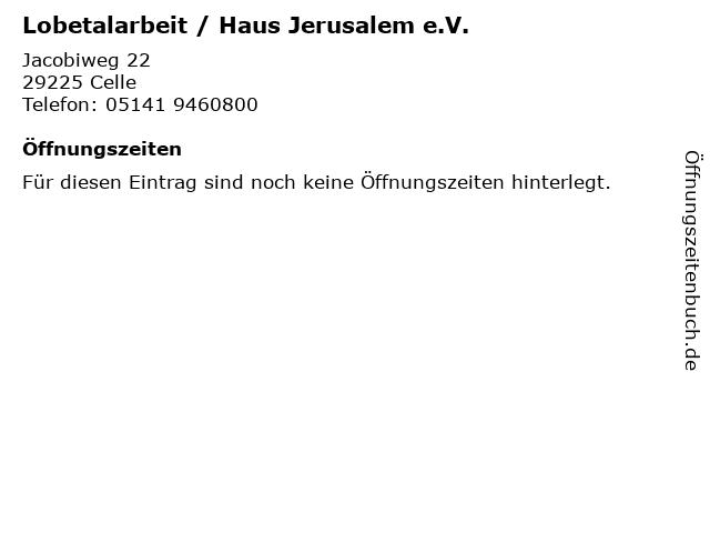 Lobetalarbeit / Haus Jerusalem e.V. in Celle: Adresse und Öffnungszeiten