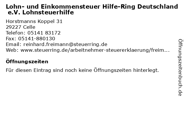 Lohn- und Einkommensteuer Hilfe-Ring Deutschland e.V. Lohnsteuerhilfe in Celle: Adresse und Öffnungszeiten