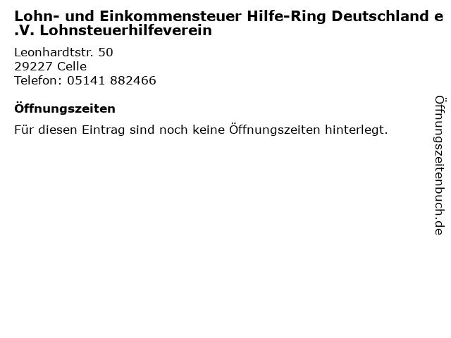 Lohn- und Einkommensteuer Hilfe-Ring Deutschland e.V. Lohnsteuerhilfeverein in Celle: Adresse und Öffnungszeiten