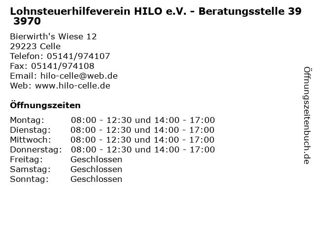 Lohnsteuerhilfeverein HILO e.V. - Beratungsstelle 39 3970 in Celle: Adresse und Öffnungszeiten