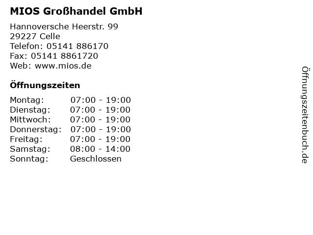 MIOS Großhandel GmbH in Celle: Adresse und Öffnungszeiten
