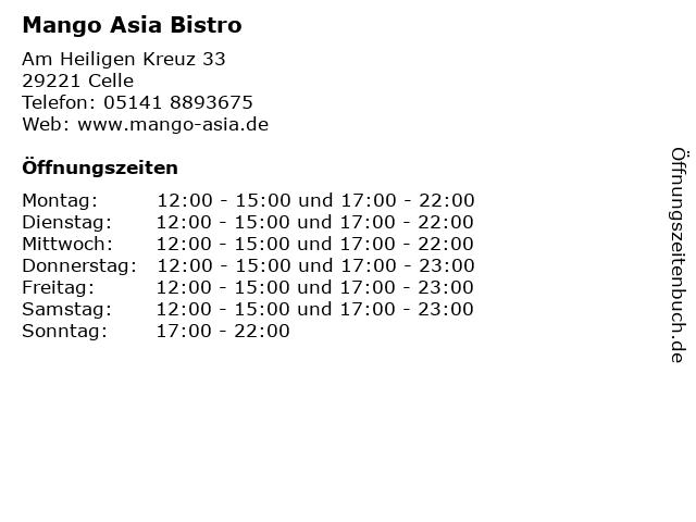 Mango Asia Bistro in Celle: Adresse und Öffnungszeiten