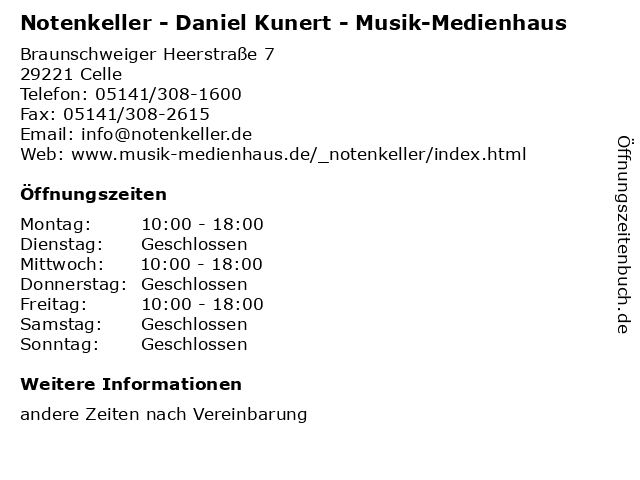 Notenkeller - Daniel Kunert - Musik-Medienhaus in Celle: Adresse und Öffnungszeiten