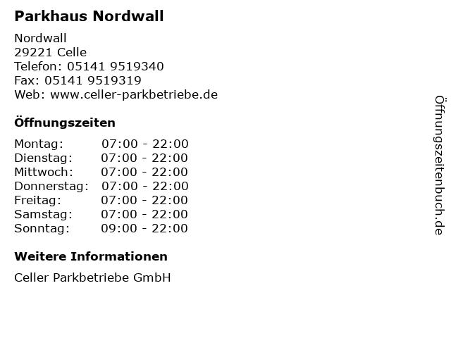 Parkhaus Nordwall in Celle: Adresse und Öffnungszeiten
