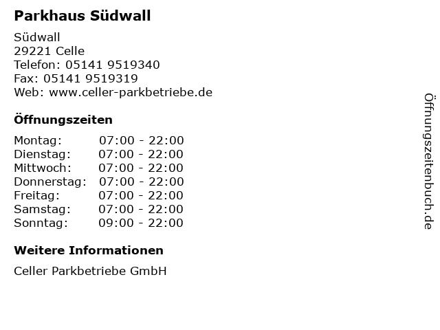 Parkhaus Südwall in Celle: Adresse und Öffnungszeiten