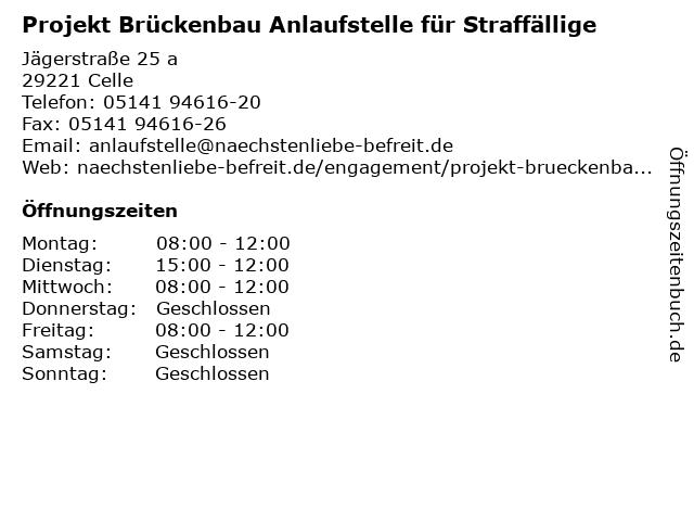 Projekt Brückenbau Anlaufstelle für Straffällige in Celle: Adresse und Öffnungszeiten