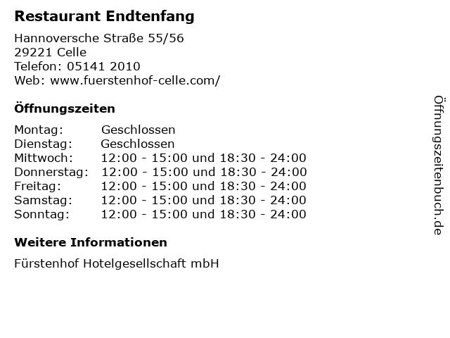 Restaurant Endtenfang in Celle: Adresse und Öffnungszeiten