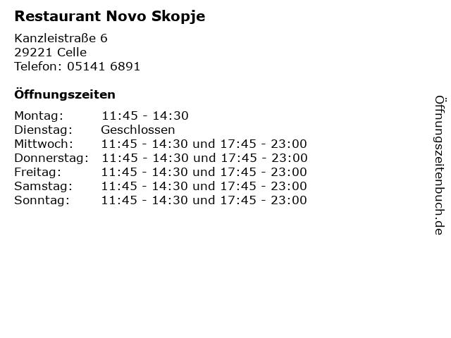 Restaurant Novo Skopje in Celle: Adresse und Öffnungszeiten