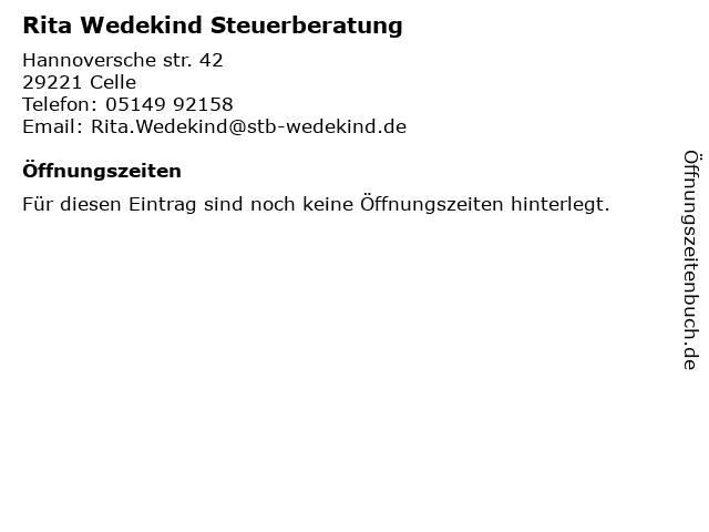 Rita Wedekind Steuerberatung in Celle: Adresse und Öffnungszeiten