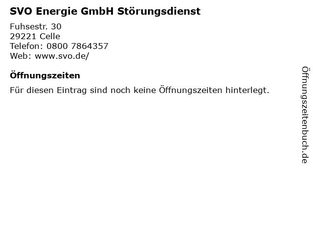 SVO Energie GmbH Störungsdienst in Celle: Adresse und Öffnungszeiten