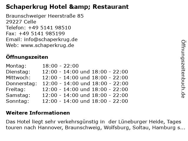 Schaperkrug Hotel & Restaurant in Celle: Adresse und Öffnungszeiten