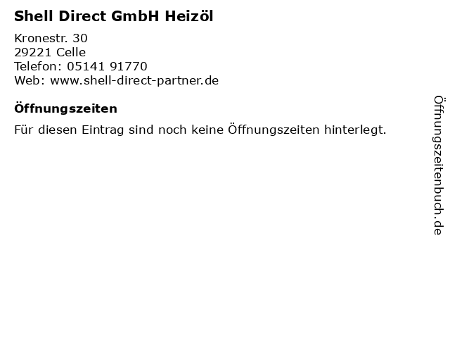 Shell Direct GmbH Heizöl in Celle: Adresse und Öffnungszeiten