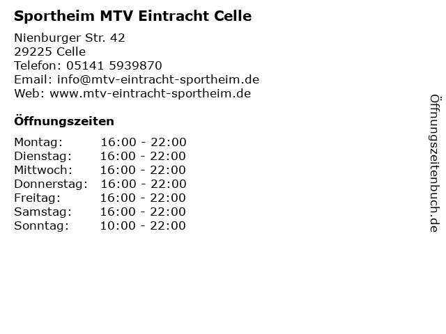 Sportheim MTV Eintracht Celle in Celle: Adresse und Öffnungszeiten