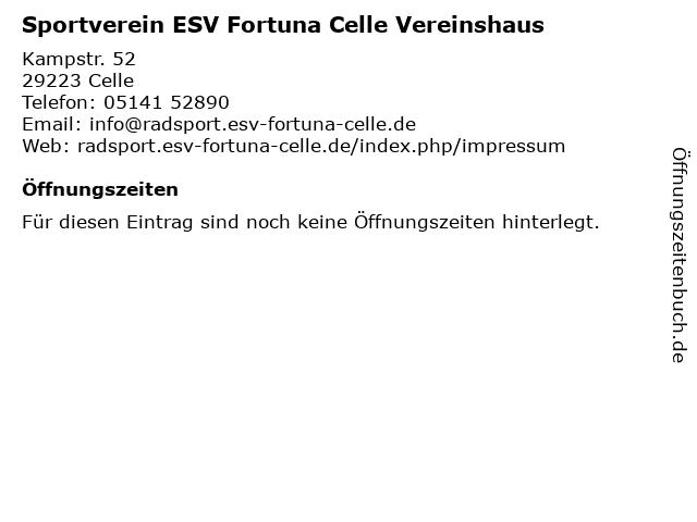 Sportverein ESV Fortuna Celle Vereinshaus in Celle: Adresse und Öffnungszeiten