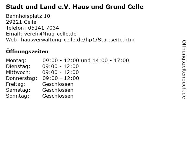 Stadt und Land e.V. Haus und Grund Celle in Celle: Adresse und Öffnungszeiten