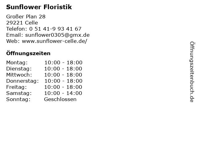 Sunflower Floristik in Celle: Adresse und Öffnungszeiten