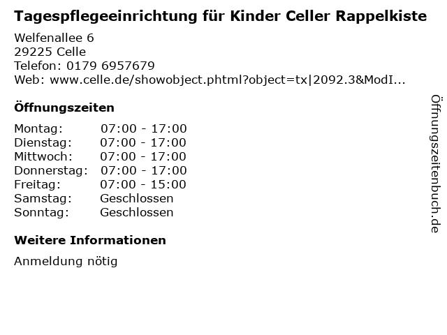 Tagespflegeeinrichtung für Kinder Celler Rappelkiste in Celle: Adresse und Öffnungszeiten