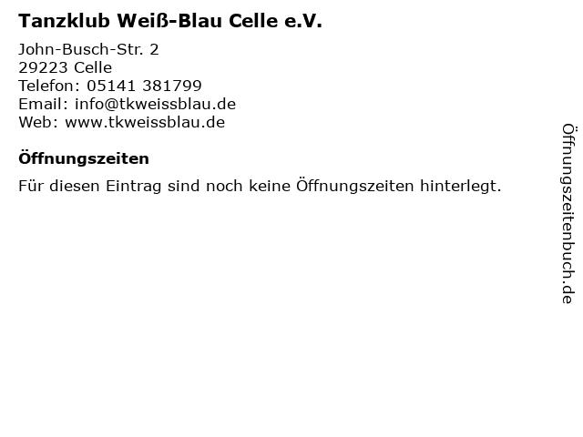 Tanzklub Weiß-Blau Celle e.V. in Celle: Adresse und Öffnungszeiten