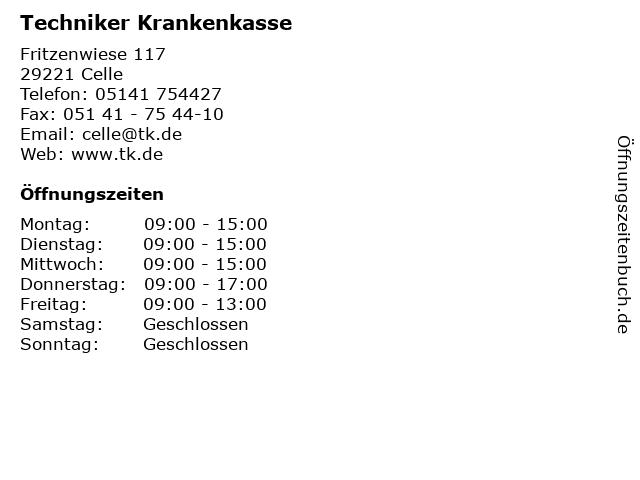 Techniker Krankenkasse in Celle: Adresse und Öffnungszeiten