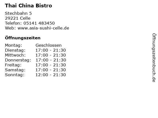 Thai China Bistro in Celle: Adresse und Öffnungszeiten