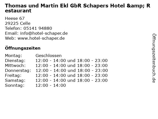Thomas und Martin Ekl GbR Schapers Hotel & Restaurant in Celle: Adresse und Öffnungszeiten