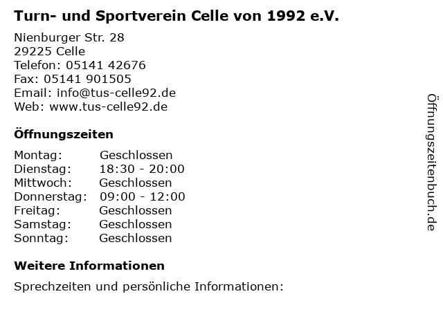 Turn- und Sportverein Celle von 1992 e.V. in Celle: Adresse und Öffnungszeiten