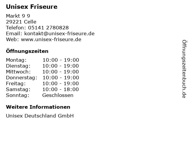 Unisex Friseure in Celle: Adresse und Öffnungszeiten