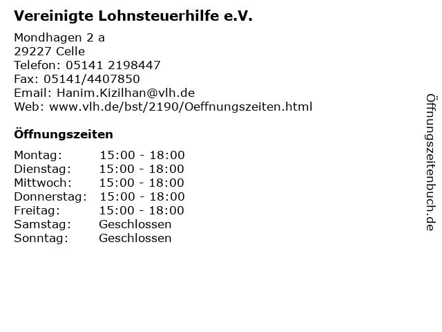 Vereinigte Lohnsteuerhilfe e.V. in Celle: Adresse und Öffnungszeiten